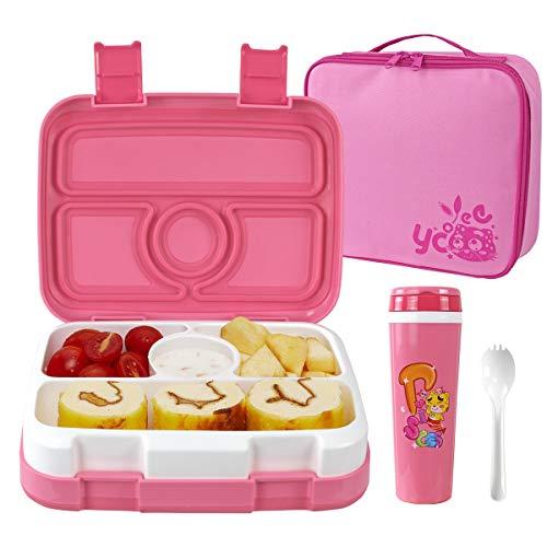 OldPAPA Brotdose Bento Box für Kinder, 4 Compartments Lunchbox Container Set Mit isolierter Tasche Wasserflasche - BPA frei/Mikrowelle/Gefrierschrank icher-Ideal für Schule, Kindergarten
