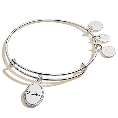 Alex and Ani Because I Love You Daughter Expandable Wire Bangle Bracelet for Women, Most Precious Gift Charm, Shiny Antique Silver Finish, 2 to 3.5 in