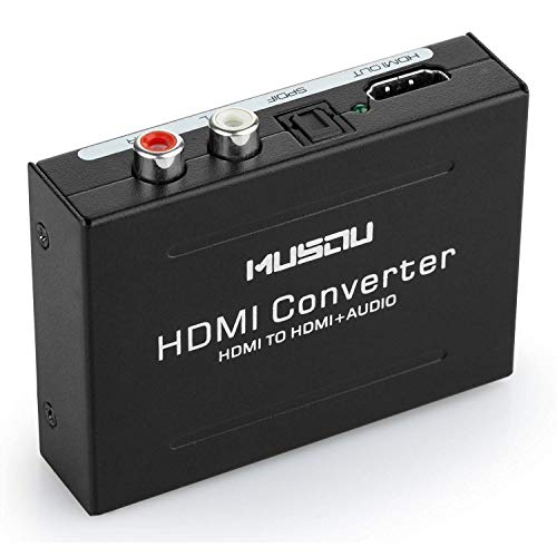 Musou Audio Extractor, HDMI Audio Extractor HDMI a HDMI e TOSLINK SPDIF ottico e Analogico RCA L/R Audio Adattatore e Video Convertitore, Supporto 3D 1080P Hi-Fi Musica, Nero