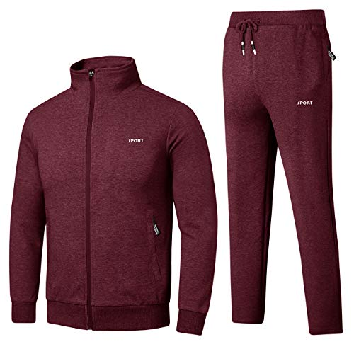 Cotrasen Men Tracksuits 2 Piece Outfit Jogging Suits Set Casual Fit Zip Sports Sweatsuit