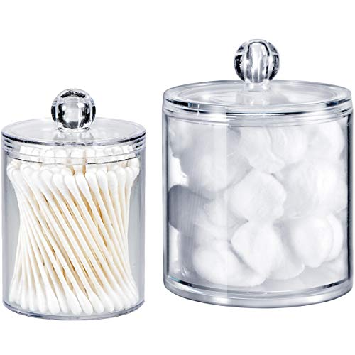 Qtip Dispenser Holder Bathroom Vanity Organizer Apothecary Jars Canister Set for Cotton Ball,Cotton...