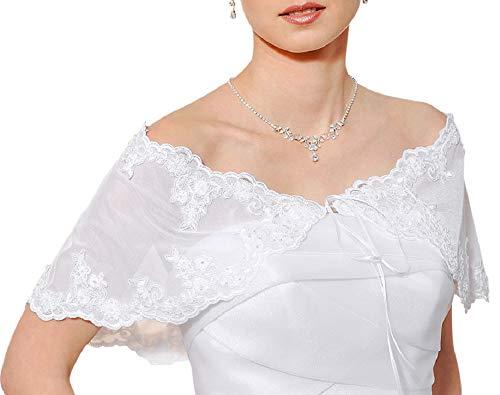 OssaFashion Damen Braut Hochzeits Tuch Bolero Kaschmirwolle uberwurf Elfenbein weiß elastischer Tüll mit Spitze, Perlen und Flittern