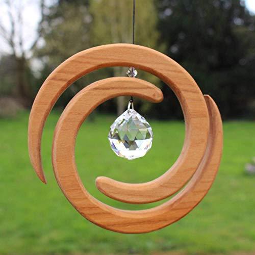 Fenster Deko zum Aufhängen | Helix aus Holz | Regenbogenkristall | Fensterschmuck | Helix Fensterdeko | Geschenkidee