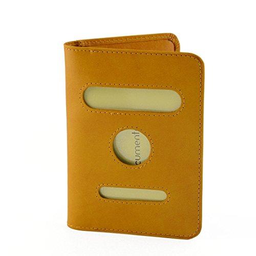 Funda De Pasaporte En Piel Verdadera, 2 Bolsillos Interiores Para Tarjetas De Crédito Color Amarillo - Peleteria Echa En Italia - Accesorios
