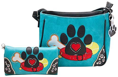HW Collection Handtaschenset mit Hundepfoten-Motiv, kleine Umhängetasche, Blau (türkis), Medium