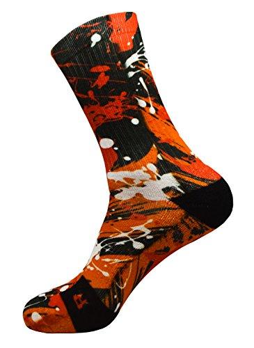 Crazy Orange Style Socken mit Eigenem Handgefertigte Motiv Design 3D Druck Socken für Basketball Fitness Volleyball Tennis Radfahren Golf Atmungsaktiv Coolmax Sportsocken für Höhe Leistung (35-38)