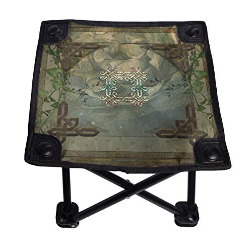 Wonderful Decorative Celtic Knot Small Folding Chair Folding Stool Portable Lightweight Oxford Outdoor Bench for Camping Fishing Hiking