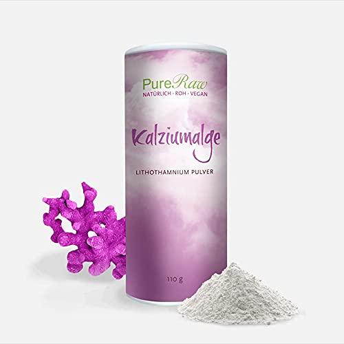 Kalzium-Alge Lithothamnium-Calcareum-Pulver Calcium Magnesium Jod (Rohkost Vegan) Kalzium-Pulver hochdosiert aus Rotalgen - Natürliche Quelle bioverfügbarer Mineralien - Mineral Powder   PureRaw 110g