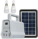 J & J LED de energía Solar del Panel del generador Kit de Altavoces Cargador USB Home System + 2 LED de iluminación al Aire Libre de los bulbos de Carga Inteligente