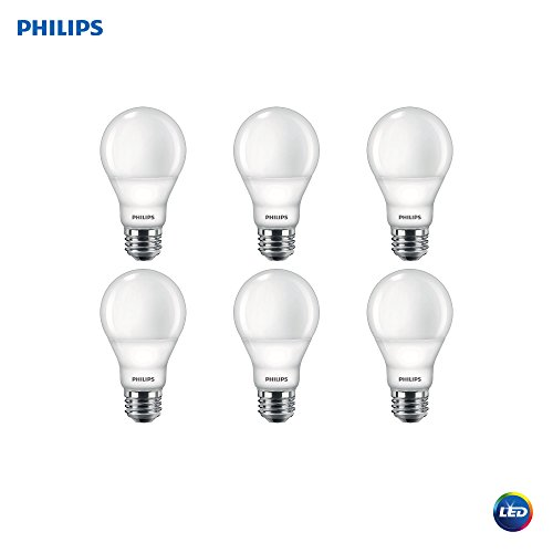 Philips LED 479444 Dimmable A19 Light Bulb with Warm Glow Effect 800-Lumen, 2200-2700 Kelvin, 9.5 (60-Watt Equivalent), E26 Base, Frosted, Soft White, 6-Pack, 6 Piece