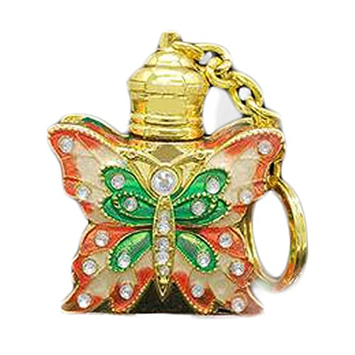 Botella de perfume de viaje3ML Golden Vintage Botella de aceite esencial Llavero Dispensador de mariposa Botella de vidrio Botella de perfume vacía Contenedor recargable