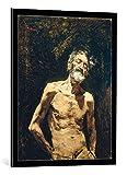Kunst für Alle Cuadro con Marco: Mariano Fortuny y Marsal Viejo Desnudo al Sol - Impresión artística Decorativa con Marco, 65x85 cm, Negro/Canto Gris