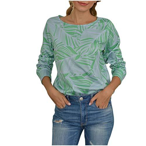 WYZTLNMA 2020 New Plus Size Womens Tops Fashion Loose Casual Long Sleeve Floral Print Tops Sweatshirt Women Streetwear Green