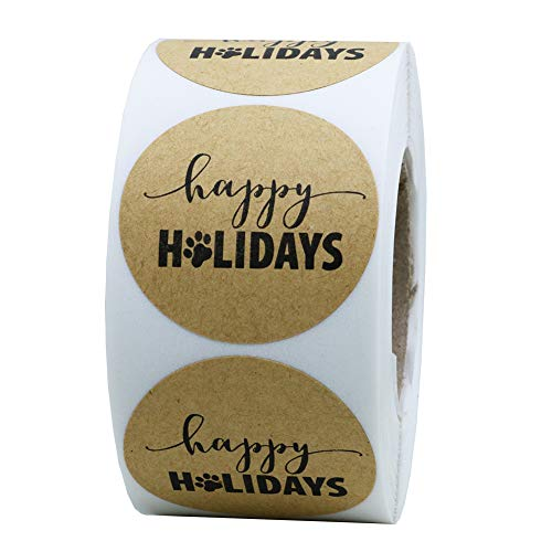 """Hybsk Happy Holidays Sticker with Paw Print 1.5"""" Round Total 500 Dog Paw Print Christmas Stickers Per Roll"""