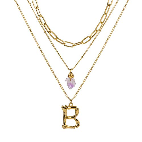DGSDFGAH Necklace Women Cubic Zirconia Initial Multilayer Necklace Pendant Stone Ladies Necklace Fashion Tiny Pearl B Initial A-Z Letter Choker Necklace For Women Gifts For Women Elegant Gift Box