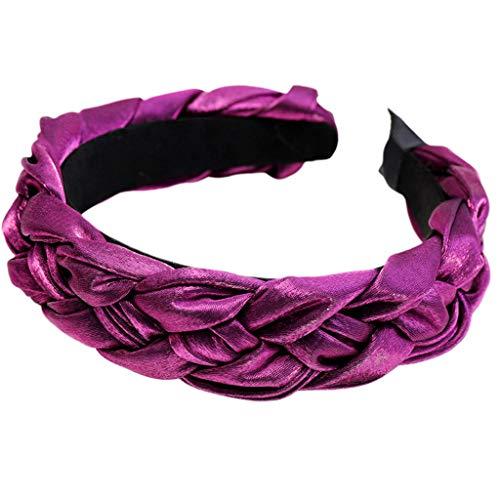 Yinuiousory Luxuriöser Haarreif aus Kunstseide, Glitzer, für Damen, Bankett, Abschlussball, Party, einfarbig, Kopfbedeckung, Ethno-Stil, grob, geflochten, dick, breit