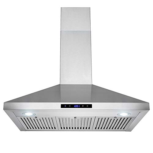 FireBird European Style Wall Mount Stainless Steel Range Hood Vent with Touch Control and Carbon Filters (36)