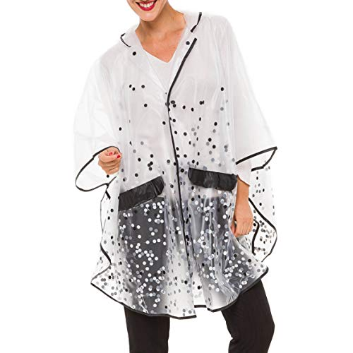 MELIFLUOS DESIGNED IN SPAIN Raincoat Poncho for Women with Hood Portable Foldable Fashion Polka Dots Design (White Polka Dots)