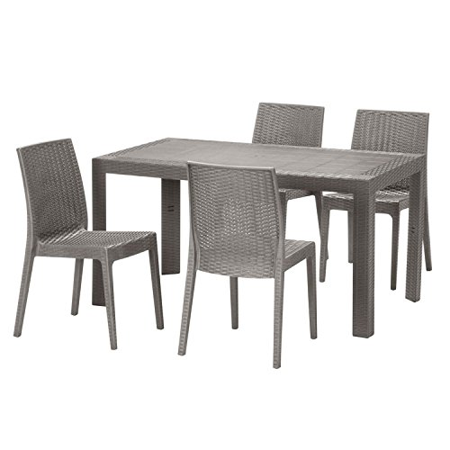 【ガーデンテーブル チェア セット ラタン調 庭 テラス】ステラテーブル・チェア5点セット グレー(C188-5A-S2)