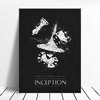 インセプションブラックホワイトクラシック映画ポスター壁アート画像キャンバスポスターとプリントHDプリント油絵壁画リビングルーム家の装飾フレームレス絵画