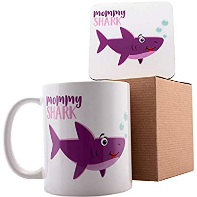 "Personalized Shark Family Mommy Shark Coffee Mugs - 11oz Ceramic Mugs - Birthday Gifts, Mother""s Day Gifts, Fathers Day Gifts, Christmas Gifts"