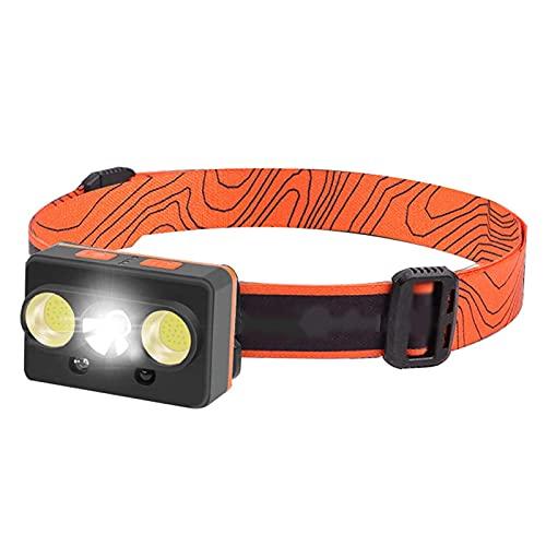 markc Inducción ondulante Faros Delanteros LED Faros de Carga USB Iluminación Exterior Luces de Pesca Luces de Pesca Nocturna Luces de Senderismo Interruptor de 7 velocidades