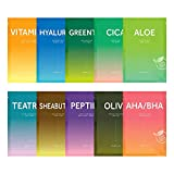 Barulab Sheet Face Masks 100% Vegan Korean Face Mask 10ea, Assorted Value Pack -(Aloe, Cica, Greentea, Olive ,AHA.BHA, Peptide, Sheabuter, Teatree, VitaminC, Hyaluron)