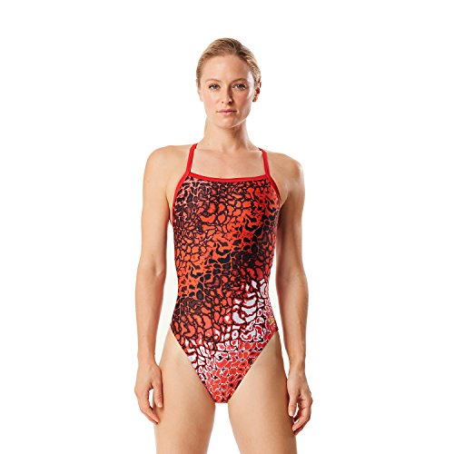 Speedo Women's Prism Racer Flyback Swimsuit (30, Red)