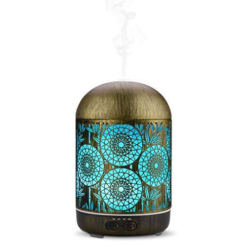 JVJH Diffuseurs d'huiles essentielles 300ml Humidificateur Super silencieux 8-12 heures avec 7 Couleurs Lumières LED (Brun de la rouille)
