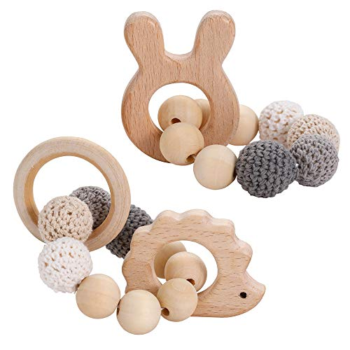 ARTESTAR Baby Beißring Bärenohren häkelarbeit Baby Hölzerner Beißring und Häkeln Hölzerne Korne das Stilvolle Baby Armband Zettel Spielwaren Trägt Holzperlen Natur (Grau)