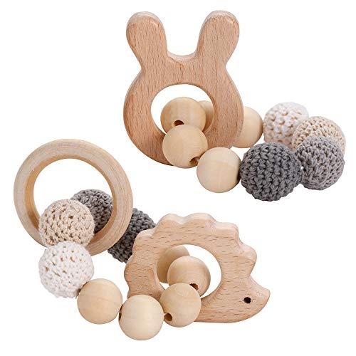 I LOVE MOM 2 pcs Baby Beißring Tierhäkelarbeit Natürliches Baby Holz Säugling Spielzeug und Holz Ring Perlen Häkeln Armband Teether Spielzeug (grau)