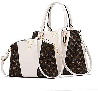 Ladies Handbag Shoulder Bag Leather Large Capacity Fashion Simple Luxury Print Leather Bag Hardware Luxury Decoration Mother Bag 2 Pieces,Beige