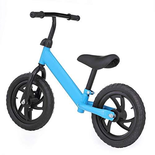 QHY 12' Niños Bicicleta De Equilibrio Sin Pedal Aprender A Paseo Formación Bicicleta Ajustable Asiento Niños Scooter Dos Ruedas Paseo En Juguetes Regalo (Color : Blue)