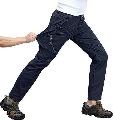 KEFITEVD Outdoor Hose Herren Stretch Leichte Trekkinghose Lang Radhose Sommer Hose Atmungsaktiv mit Zip-Taschen Freizeithose Männer Dunkelblau 34
