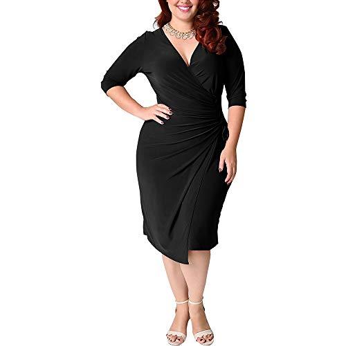 LMH-Jxlsnvp Damen Kleid Freizeitkleider Für Damen Einfarbiges Bandagenkleid Mit Großen Ärmeln Für Damen, Unregelmäßig Plissiert, 2XL, Schwarz