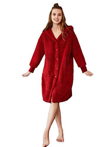 Suave Albornoz para Hombres y Mujeres,Albornoz Bata Kimono Bata Bata,Albornoz de hogar para Hombres y Mujeres, más Albornoz de Terciopelo cálido Rojo B_XXL