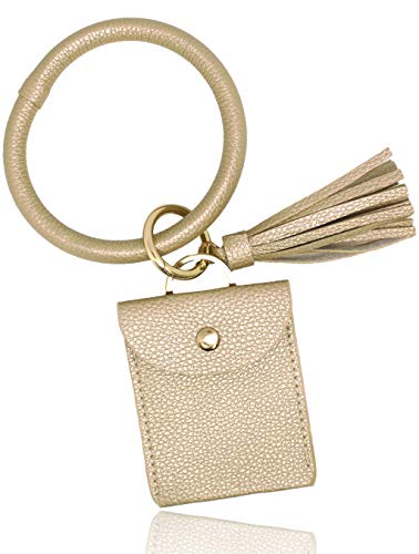 GemRich 革製リングホルダー付 カードケース パスケース 定期入れ カラビナ + タッセル付 レディース パールベージュ