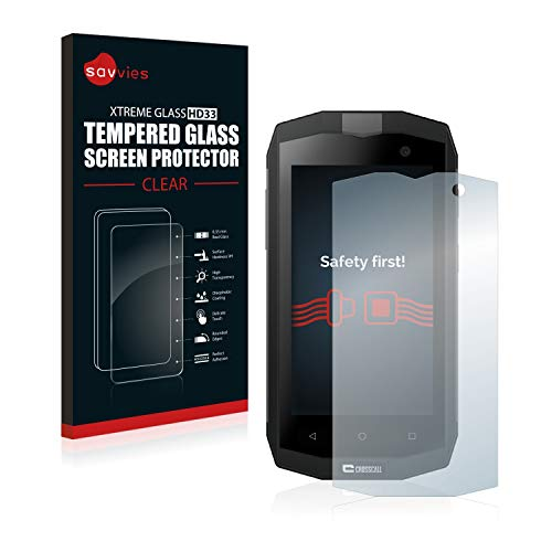 Savvies Panzerglas kompatibel mit Crosscall Trekker M1 / M1 Core - Echt-Glas, 9H Festigkeit, Anti-Fingerprint