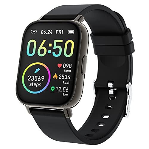 Smartwatch, Reloj Inteligente Hombre Mujer Pantalla TFT de 1,69'', IP68 Impermeable 24 Modos Deporte, Pulsera Actividad con Pulsómetro Monitor de Sueño Cronómetros Calorías Podómetro para Andr