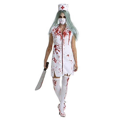 Womens Zombie Nurse Costume Adult Bloody Sexy Horror Quality Dress Up for Women - Large