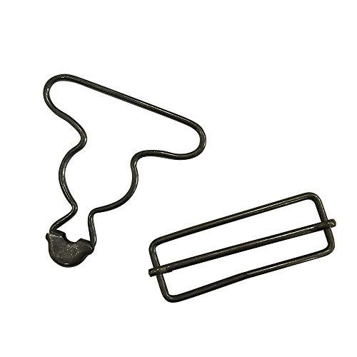 2 inch Inside Bottom Size Bronze Suspender Buckle with Rectangle Buckle Sliding Bar Pack of 10 Sets (Black) Q2058