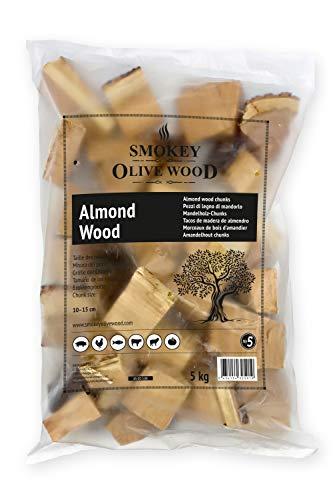 Smokey Olive Wood 5Kg, Tacos de Madera de Almendro para Barbacoa y ahumar, Talla 5 a 10cm