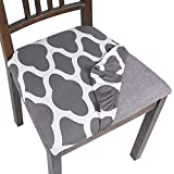 SearchI Seat Covers for Dining Room Chairs Stretch Printed Chair Seat Covers Set of 4, Removable Washable Upholstered Chair Seat Protector Cushion Slipcovers for Kitchen, Office(Grey)