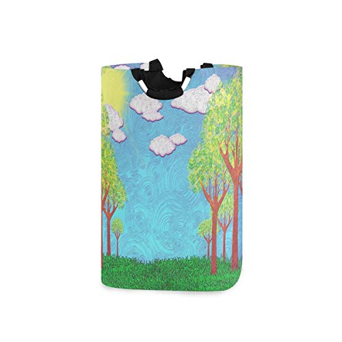 Mnsruu Sunny Landscape Wäschekorb groß Schmutzwäsche Korb faltbar Wascheimer für College Badezimmer