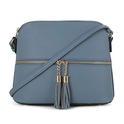 SG SUGU Lightweight Medium Dome Crossbody Bag with Tassel | Zipper Pocket...