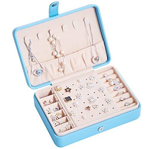 Caja de joyería de PU portátil MUY con Hebilla magnética, Pendientes de Pulsera, Collar, Anillos, Caja de Almacenamiento de Joyas, Gancho para Mujer, Pascua