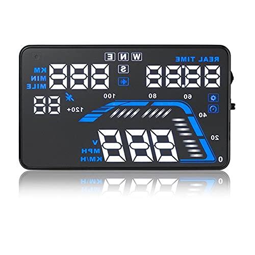 AOKUO Car Head Up Display OBD2 / Interfaz GPS, velocímetro HUD Parabrisas automático Velocidad Reflectante del vehículo, Plug and Play Adecuado para Todos los Coches (Color : Blue)