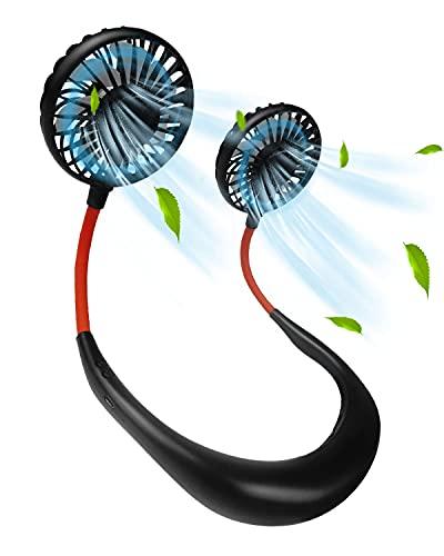 E-SMARTER Ventilador Personal Portátil, Mini Ventilador USB de Cuello Mano Libre Recargable Ventilador 3 velocidades y rotación de 360 Grados con LED para Deporte Oficina Viajar Acampar Negro