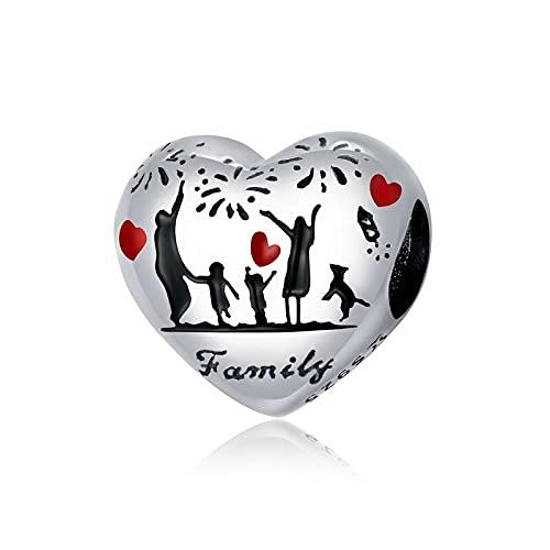 LISHOU DIY Familia De Acción De Gracias 925 Plata De Ley Infinito Corazón Colgante De Cuentas Ajuste Original Pulsera Collar DIY Joyería De Las Mujeres Regalo D1