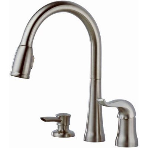 Delta Faucet Kate Single-Handle Kitchen Sink Faucet with Pull Down Sprayer, Soap Dispenser and...